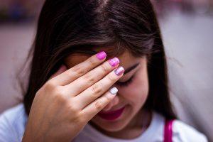 girl, shy, hand